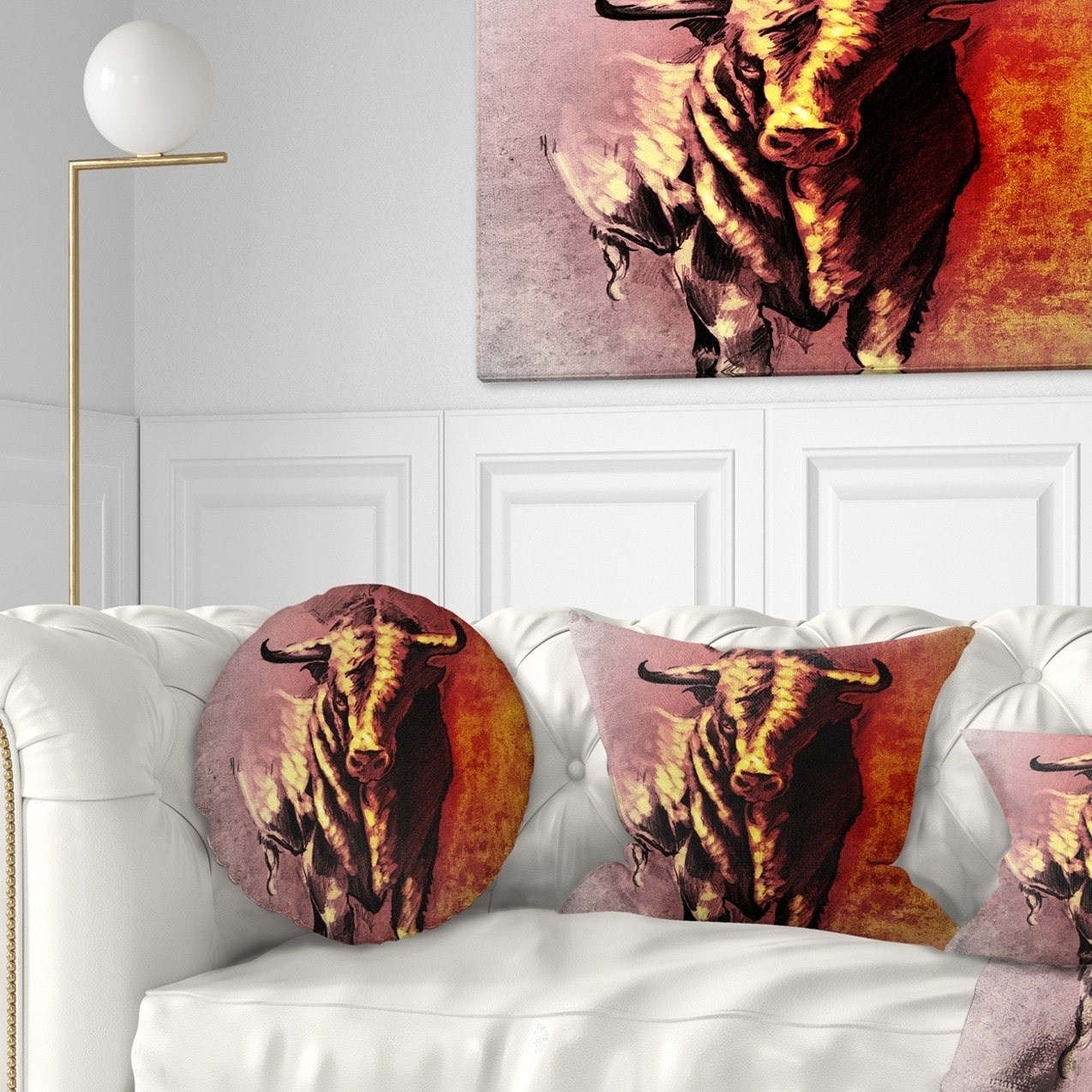 Designart CU7818-18-18 Spanish Bull Tattoo Sketch Abstract Throw Pillow 18 x 18
