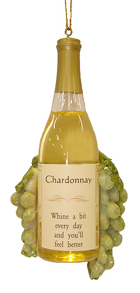 "4.5"" Vintage Tuscan Winery Chardonnay Wine Bottle and Grapes Christmas Ornament"