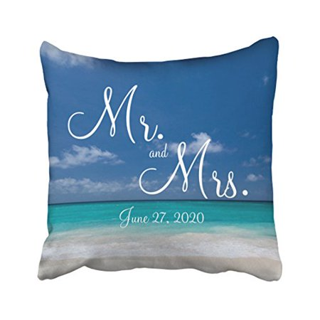 WinHome Square Throw Pillow Covers Retro Mr And Mrs Blue Beach Wedding Customizable Pillowcases Polyester 18 X 18 Inch With Hidden Zipper Home Sofa Cushion Decorative Pillowcase ()