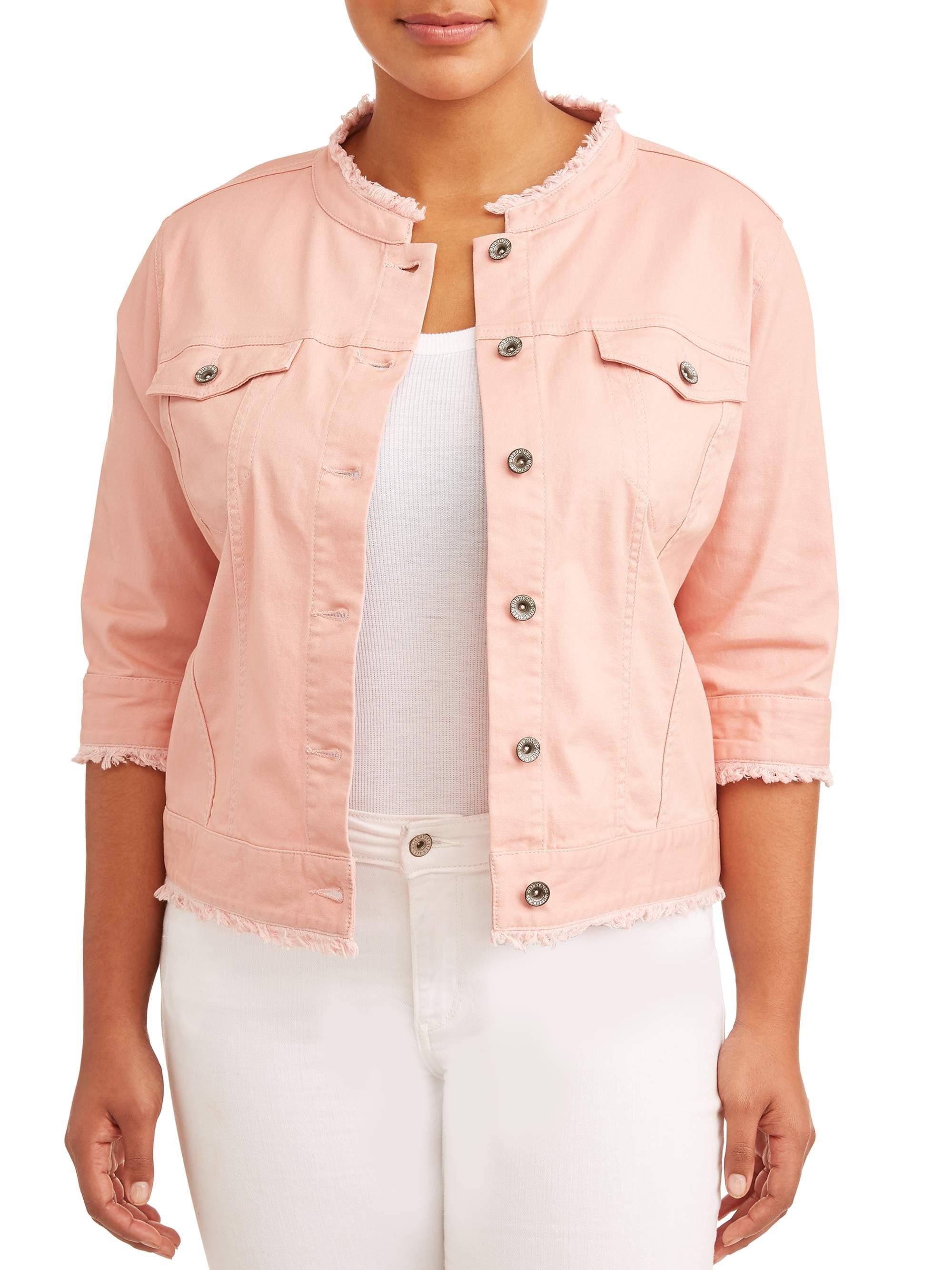 Women's Plus Size Cropped Rose Jean Jacket w/ Frayed Hem & Collar