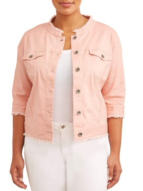 fde70140233 Product Image Women s Plus Size Cropped Rose Jean Jacket w  Frayed Hem    Collar