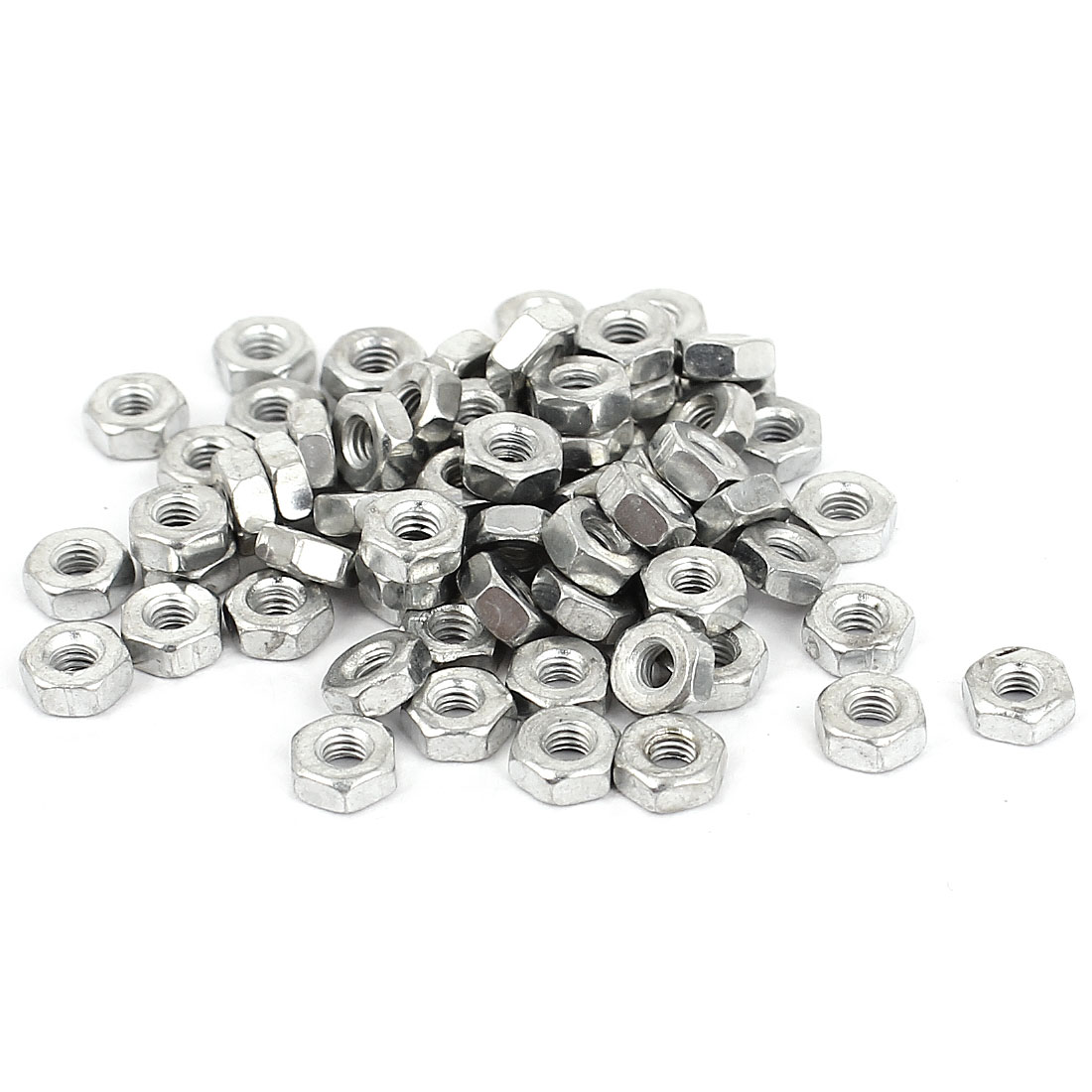 Uxcell 2mm Female Thread Hex Full Nuts Metal Fastener for Screws Bolts (70-pack)