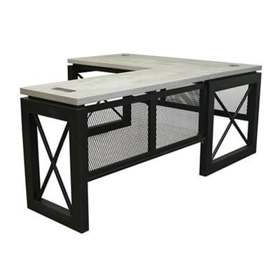 Urban Reversible Compact Ldesk 60 Quot W X 80 Quot D Concrete Laminate Top Black Accents Walmart Com