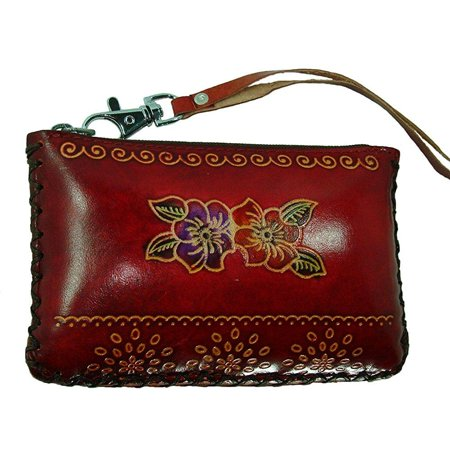 Metallic Embossed Wristlet (hand made leather change/coin purse, rectangle shape, lovely flower embossed, a mini wristlet wallet, collectible.)