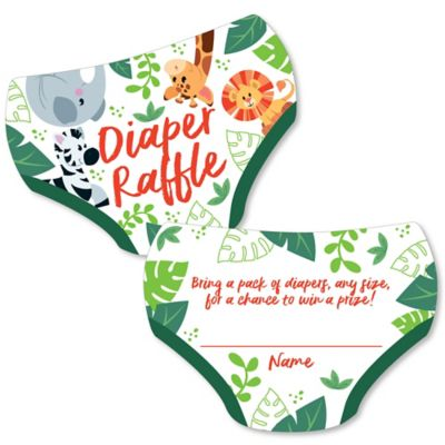 Jungle Baby Shower Party Supplies (Jungle Party Animals - Diaper Shaped Raffle Ticket Inserts - Safari Zoo Animal Baby Shower Activities - Diaper Raffle Game - Set of)