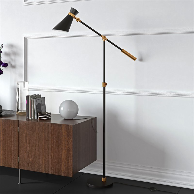 Evelyn&Zoe Rex Adjustable Task Floor Lamp, Black and Brass