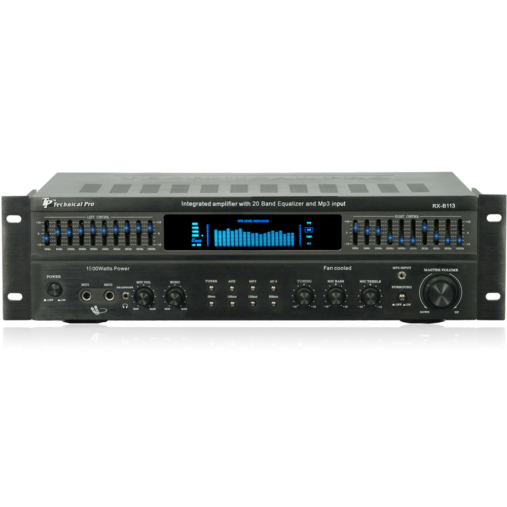 Technical Pro RX113 1500w Integrated Pro Audio Amplifier 10 Band EQ Amp
