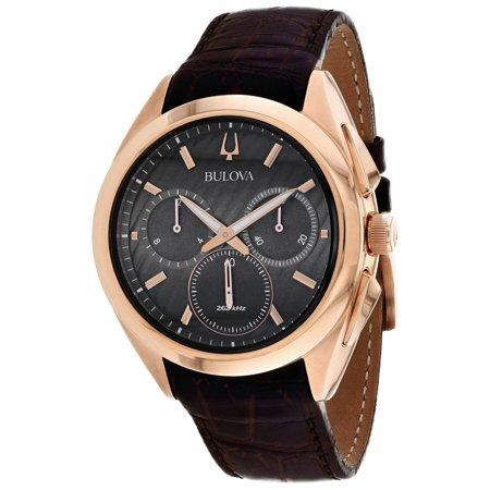 Bulova Men's Curv Stainless Steel/Rose Gold Watch 97A124