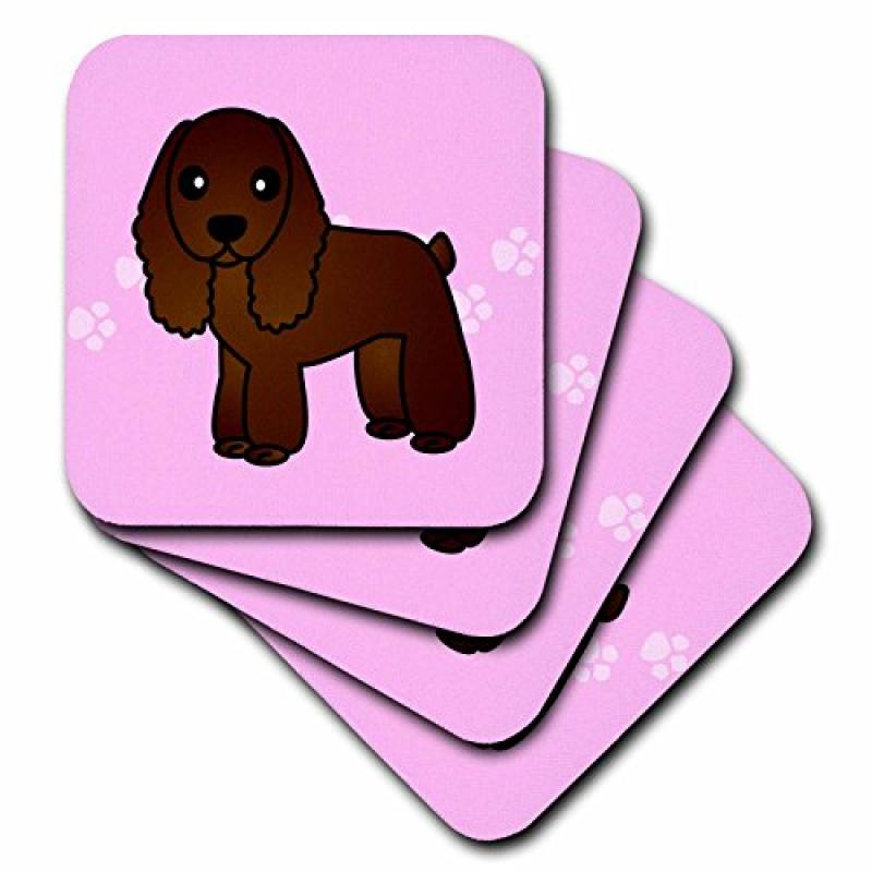 3dRose cst_15345_3 Cute Chocolate Cocker Spaniel Pink wit...