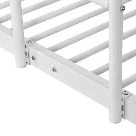 Costway Metal Twin Over Twin Bunk Beds Ladder Kids Teens Dorm Bedroom White - image 2 de 8