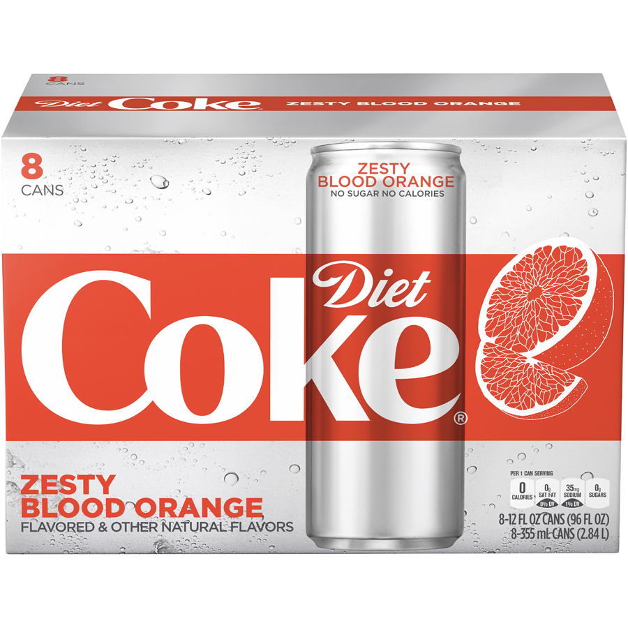 Diet Coke Zesty Blood Orange Soda Slim Can, 12 Fl Oz, 8 Count by Coca-Cola