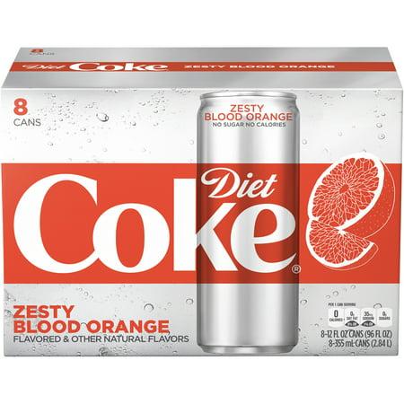 (3 Pack) Diet Coke Slim Can Soda, Zesty Blood Orange, 12 Fl Oz, 8 Count