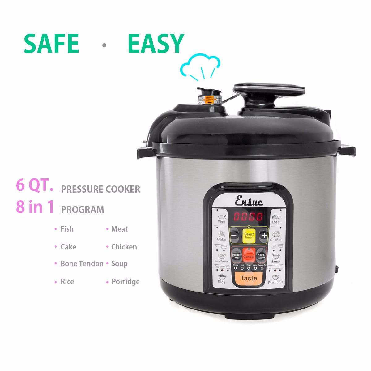 6 Quart Electric Pressure Cooker Rice Steamer Stainless Steel 1000W by