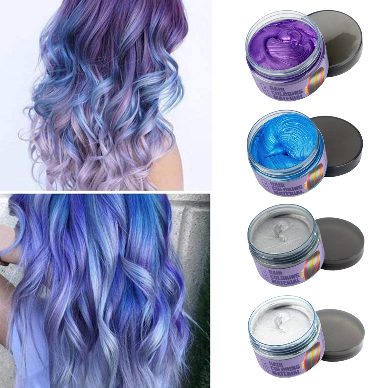 Hair Wax 4 Colors Kit Temporary Hair Color Easy To Rinse Out Hair Coloring Mud Dye Cream Gray Blue White Purple Walmart Com Walmart Com