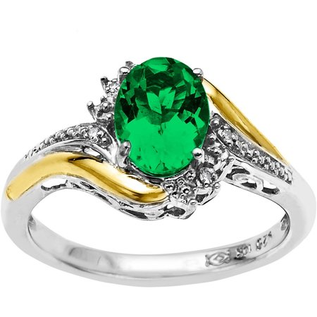 Created Emerald and Diamond Accent Ring in Sterling Silver with 10KT Yellow Gold