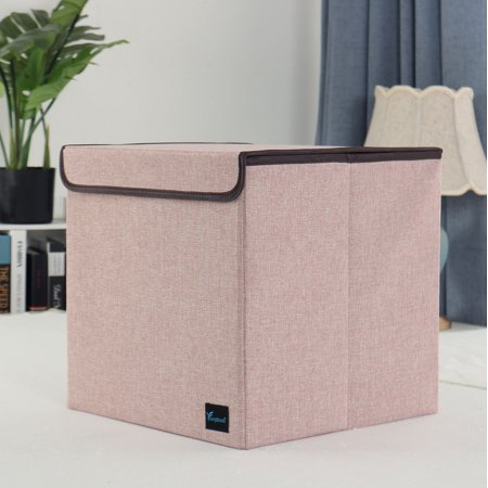Foldable Fabric Storage Basket Cube Bin Organizer With Lid