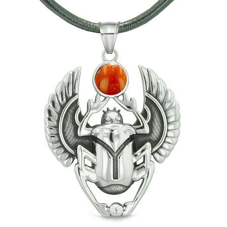 Amulet Egyptian Scarab Rebirth Spiritual Life Magic Powers Red Jasper Pendant Leather Necklace