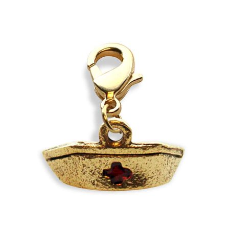 Nurse Hat Charm Dangle in Gold