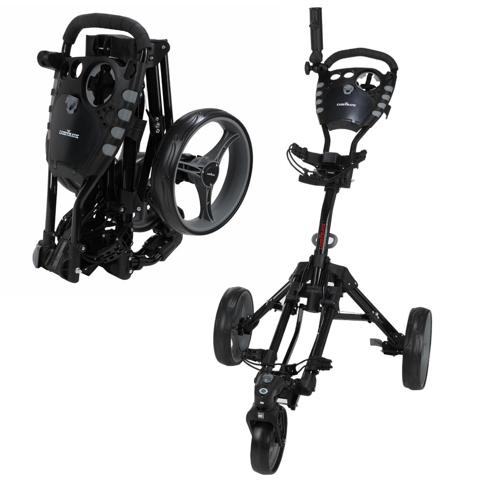 Caddymatic Golf 360� SwivelEase 3 Wheel Folding Golf Cart Black by Caddymatic