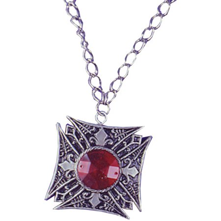 Medallion Vampire Red Gem Adult Halloween Accessory](Geisha Hair And Makeup For Halloween)