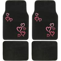 BDK Pink Love Hearts Pattern Car Floor Mats, 4 Pieces