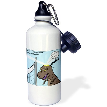 3dRose Why T-Rex does not like volleyball, Sports Water Bottle, 21oz