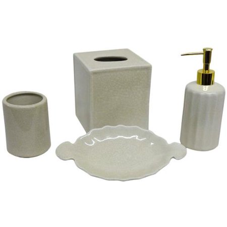 Amita trading inc cream crackle bath accessory 4 piece for Gold crackle bathroom accessories