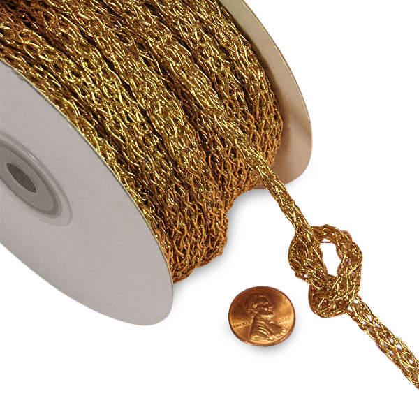 Gold Loose Braided Cord 5mm X 25 Yards  | Diameter - 5 mm by Paper Mart