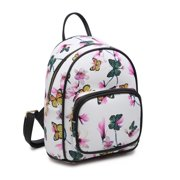 POPPY Fashion Floral Backpack Purse for Women Girls School Shoulder Bag Travel Daypack-Butterfly White