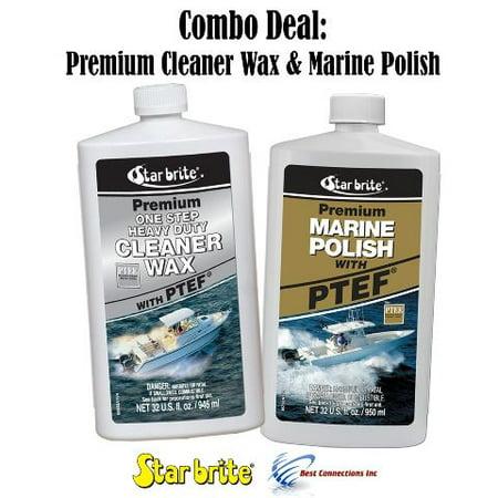 Star Brite Premium Cleaner Wax & Marine Polish w/ PTEF Combo Deal 85732 89632 (Brise Marine)