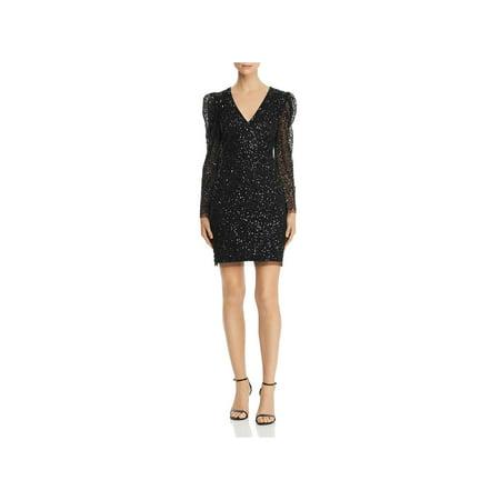 Adrianna Papell Womens Beaded Mini Party Dress