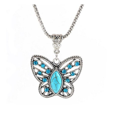 Tibetan Gau Box Pendant (Butterfly Tibetan Silver Plated Pendant Necklace - Ginger Lyne Collection )