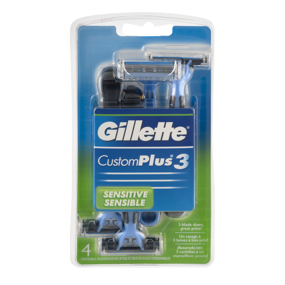 Gillette CustomPlus3 Sensitive Disposable Razors - 4 CT