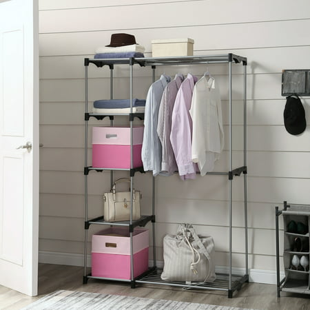Mainstays Wire Shelf Closet Organizer, 2-Tier, Easy to Assemble