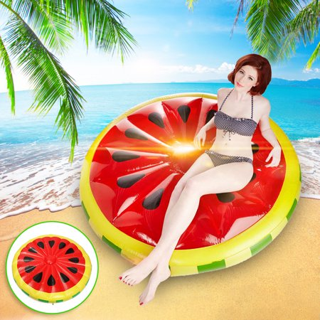 Inflatable Watermelon Island Float Lounge Raft Pool Float Summer Water Sport Adult Seat Swimming Inflatable Watermelon Toys Fun For - Adult Water Toys