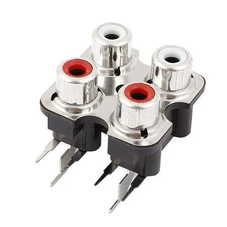 PCB Mount Stereo Audio Video Jack AV Socket 4 Position RCA Female Connector