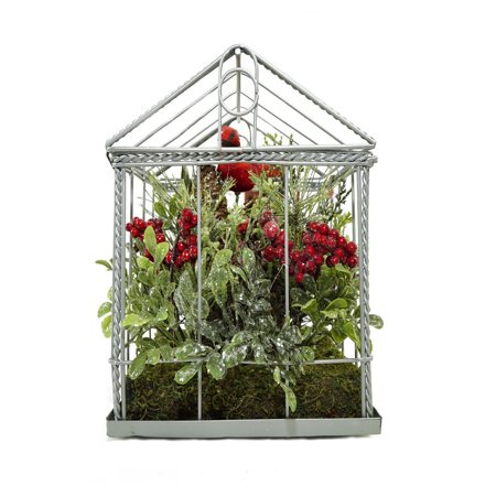 """9"""" Red Cardinal Boxwood and Berry Artificial Christmas Greenhouse Arrangement - image 1 of 2"""