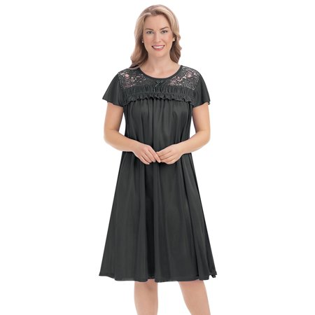 Lace Yoke Tricot Soft Silk Nightgown with Scoop Neckline and Flutter Short Sleeves Sleeve Silk Gown