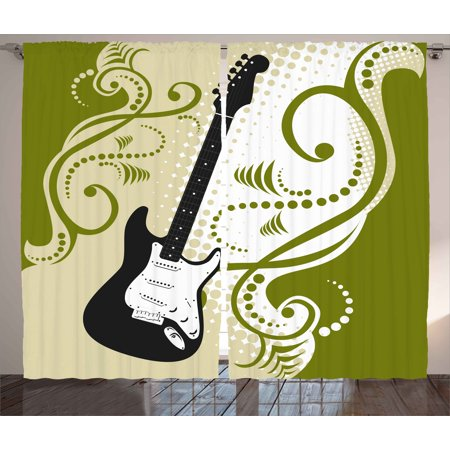 Olive Swirls - Music Curtains 2 Panels Set, Electric Bass Guitar Figure with Swirls Background Artful Illustration, Window Drapes for Living Room Bedroom, 108W X 84L Inches, Olive Green White Black, by Ambesonne