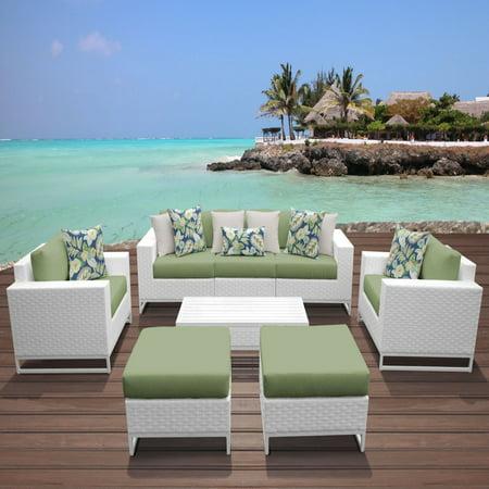 TK Classics Miami Wicker 8 Piece Sofa Patio Conversation Set with Ottomans ()