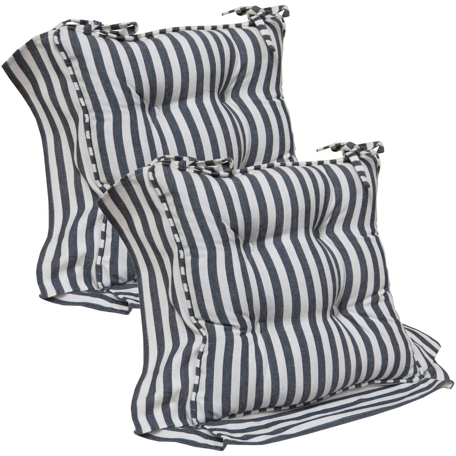 Your Decor Reggie Stripe Chair Cushions with String Ties, Set of 2