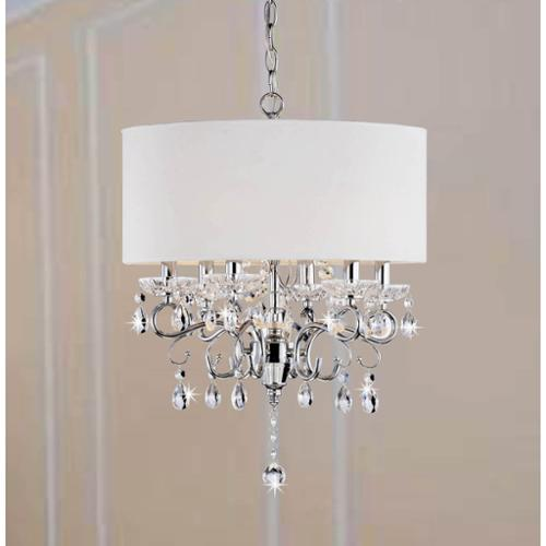 The Lighting Store Allured Crystal Chandelier/ Solid White Shade