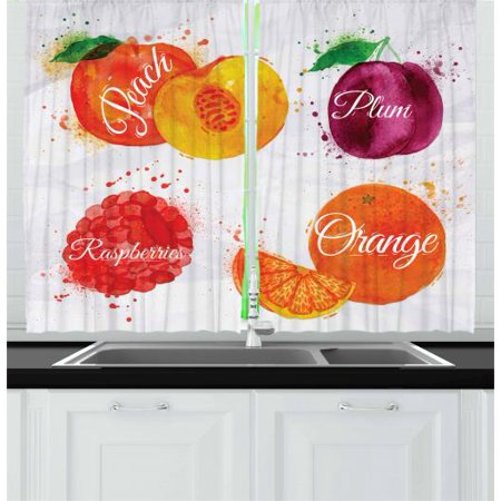 Fruit Curtains 2 Panels Set, Watercolor Grunge Background with Paint Splashes Peach Raspberry Plum and Orange, Window Drapes for Living Room Bedroom, 55W X 39L Inches, Multicolor, by (Pulmonaria Raspberry Splash)