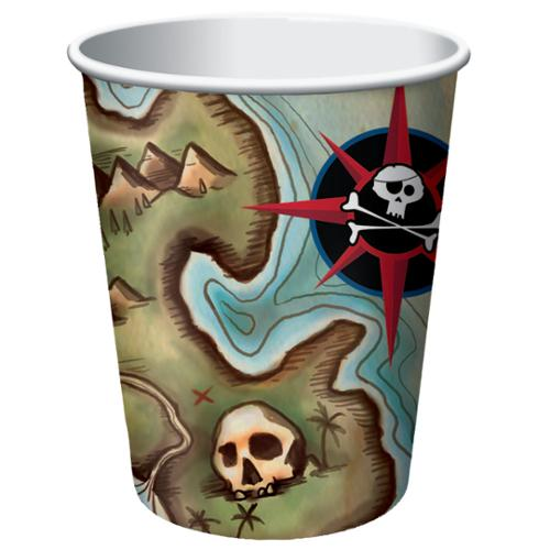 Club Pack of 96 Pirate's Map Disposable Paper Hot and Cold Drinking Party Cups 9 oz.