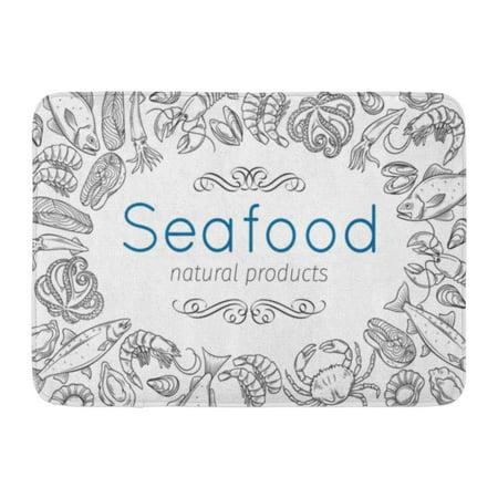 - GODPOK Seafood with Mussel Fish Salmon Shrimp Lobster Squid Octopus Scallop Craps Mollusk Oyster Alfonsino Rug Doormat Bath Mat 23.6x15.7 inch