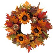 """24"""" Harvest Wreath With Sunflowers & Pumpkins Fall Decoration Fall Harvest Halloween Decoration"""