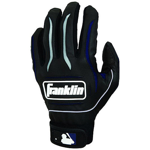 Franklin Sports MLB Adult Black Gray Player Classic Batting Gloves (1 Pair) by Franklin Sports, Inc.