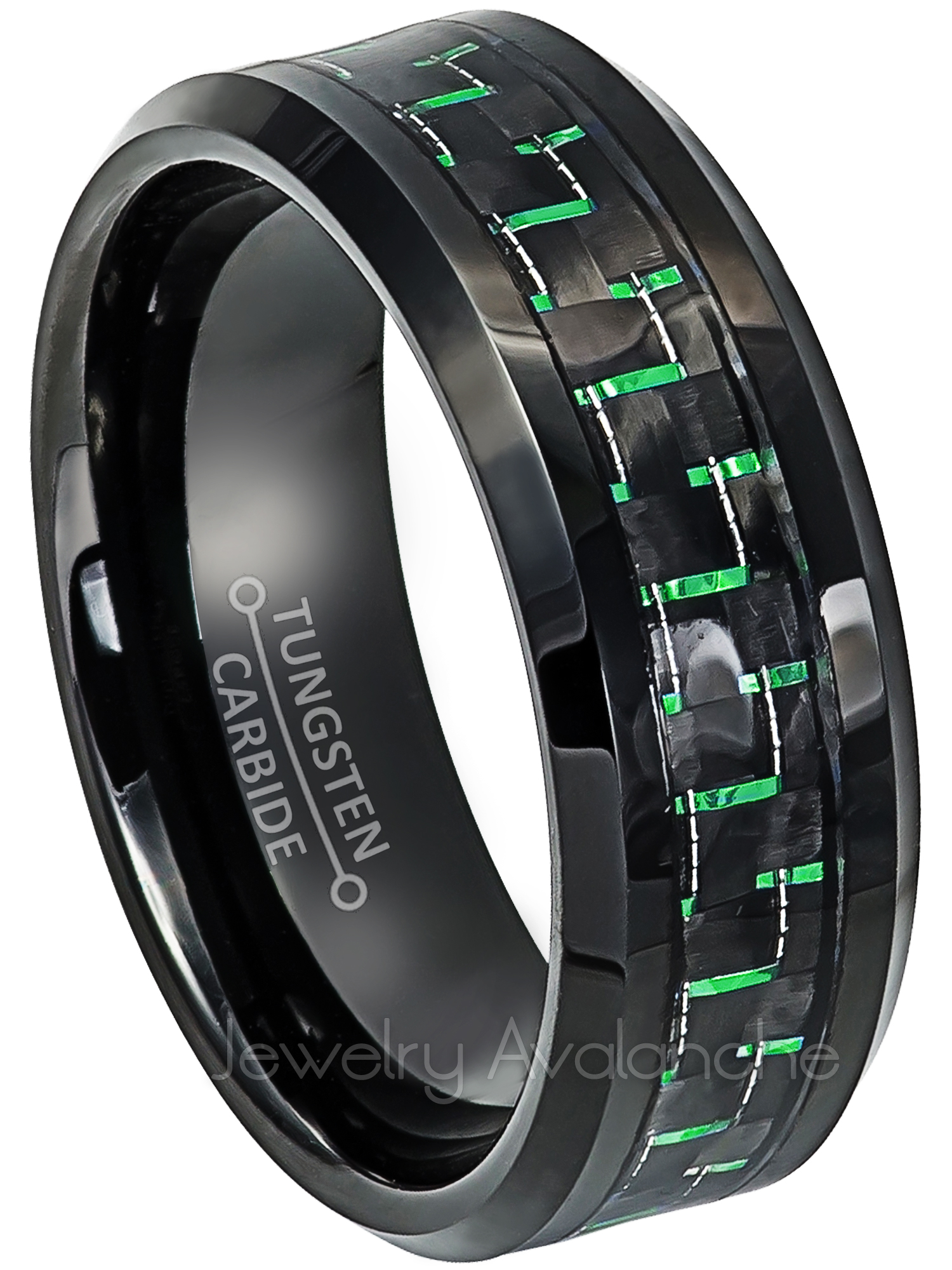 Jewelry Avalanche 8mm Beveled Cobalt Wedding Band with Carbon Fiber Inlay Hypoallergenic Comfort Fit Anniversary Ring