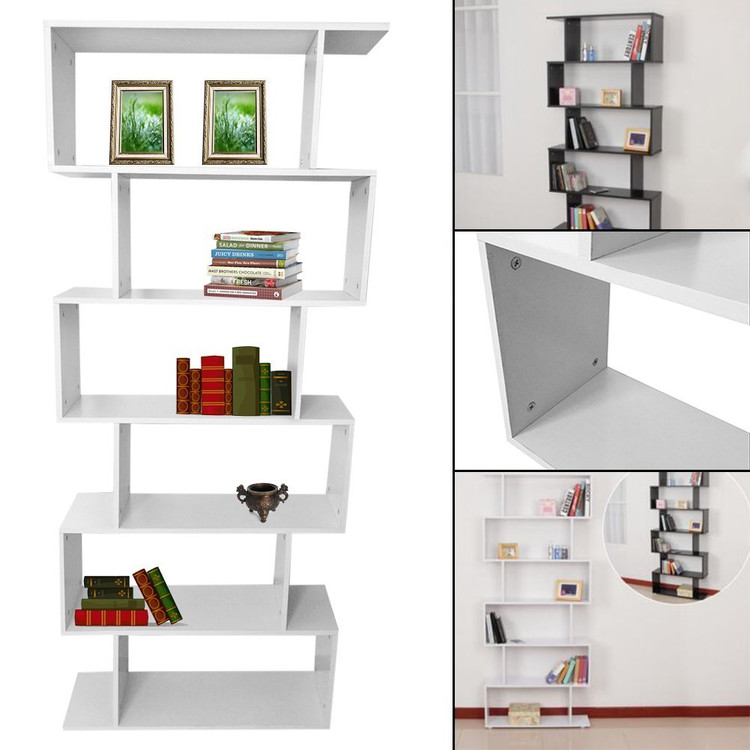 Walfront Mainstays Home 6 Tier Corner Bookshelf Solid Wood Bookshelf  Bookcase Storage Shelves Storage Cube
