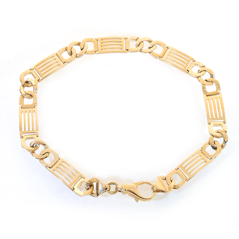 7.4mm 14K Yellow Gold Mens Fancy Interlocking Link Bracelet by
